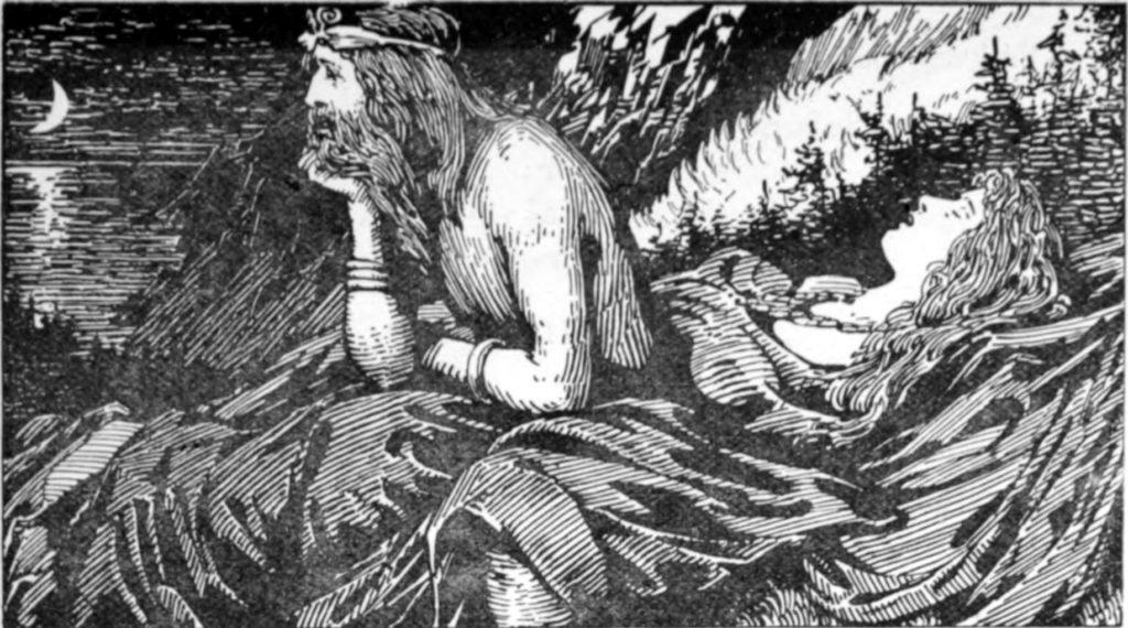 cuadro del dios nórdico del mar y el viento Njord contemplando el mar