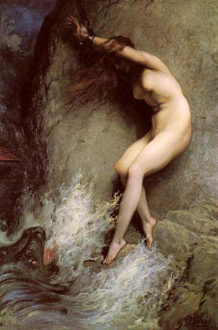 Andrómeda encadenada a una roca mito Perseo y Medusa