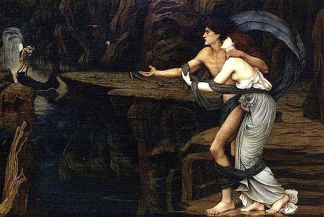 Pintura sobre el mito de Orfeo y Eurídice