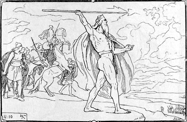 Odín arroja una lanza a los Vanir