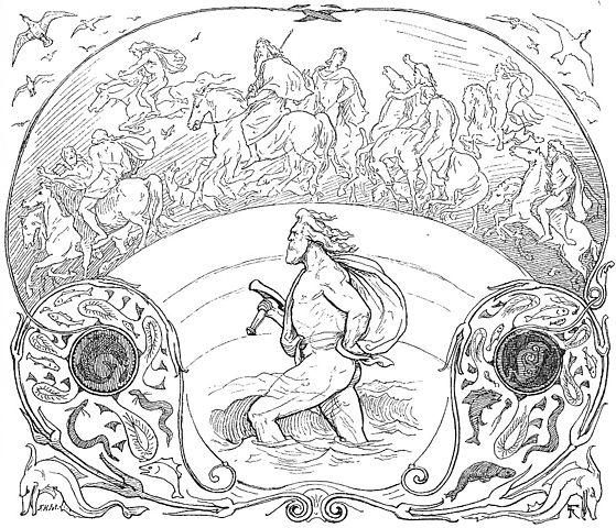 Thor y dioses Aesir por el puente Bifrost