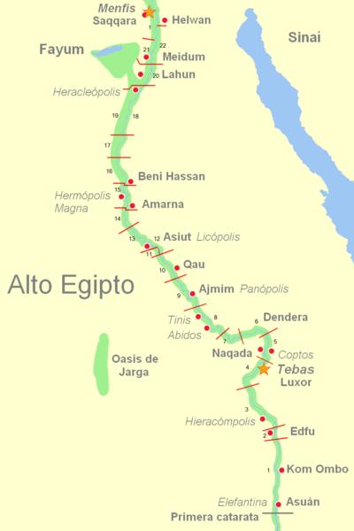 Mapa del Antiguo Alto Egipto