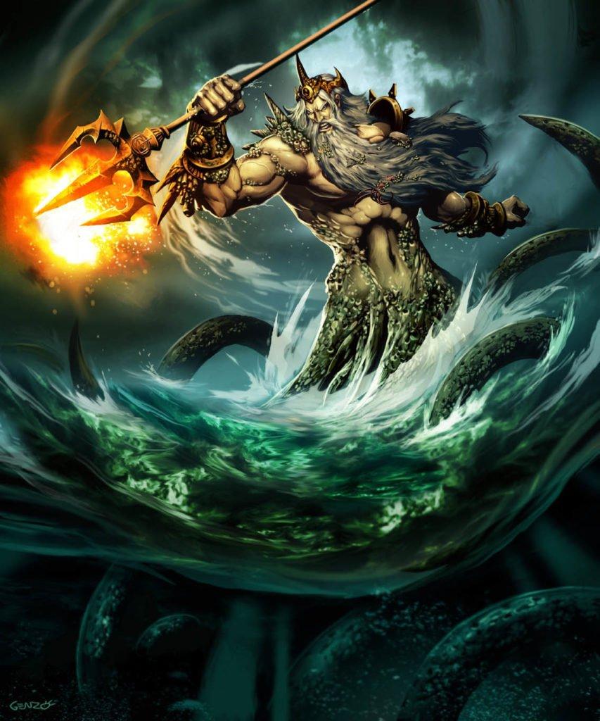 Poseidón dios de los mares mitología griega