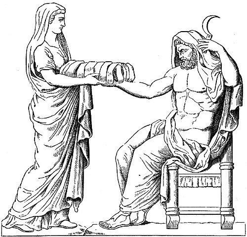 Rea entregando roca a Cronos