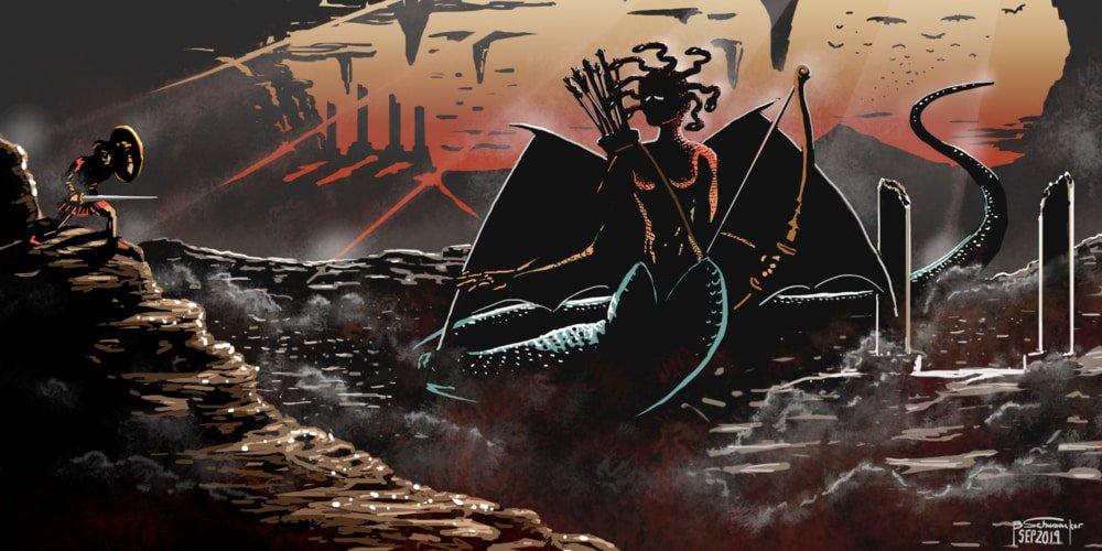 Representación mito Perseo y Medusa mitología griega