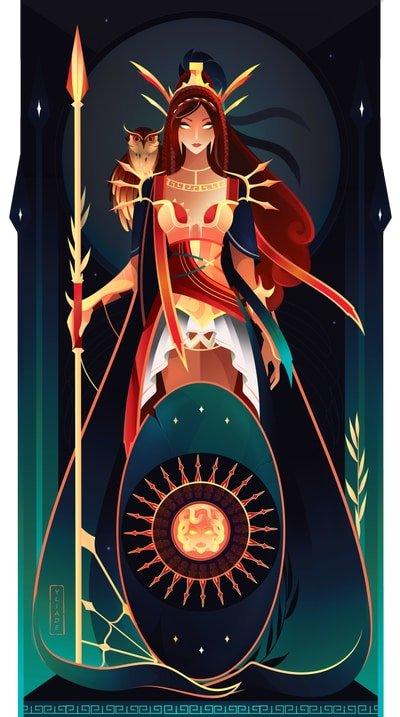 Atenea diosa griega de la guerra mitología griega