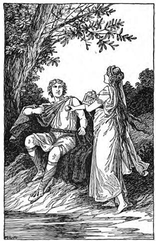 Idun entrega a Loki manzanas de oro mitología nórdica