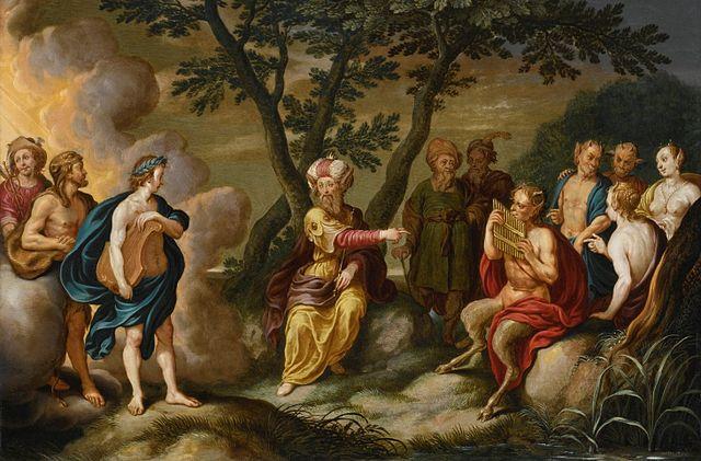 Cuadro del mito del rey Midas con Apolo