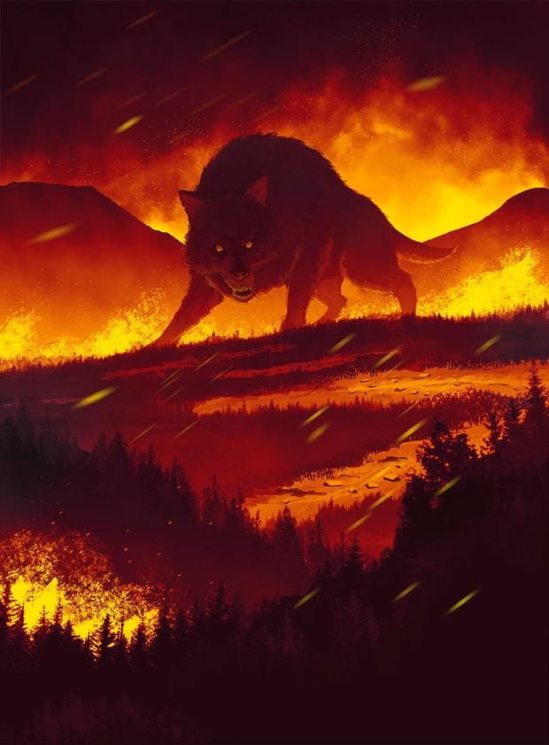 Ilustración de Fenrir mitología nórdica